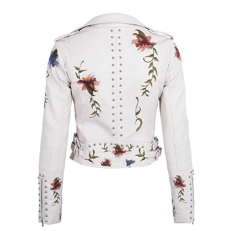 Ailegogo Spring Autumn Flowers Embroidery Pu Leather Jacket Women Turn-down Collar Rivet Zipper Black Biker Coats Tops Clothes