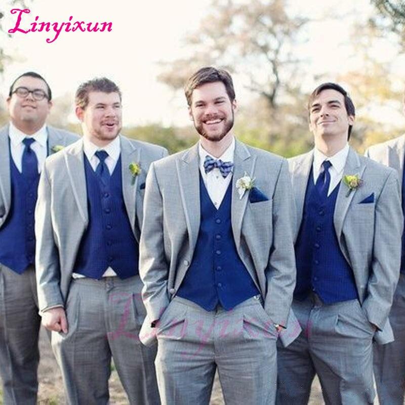 Linyixun Gray Wedding Groomsmen Tuxedos 2018 Classic Style Three Piece Royal Blue Vest Grey Custom Made Men Suits