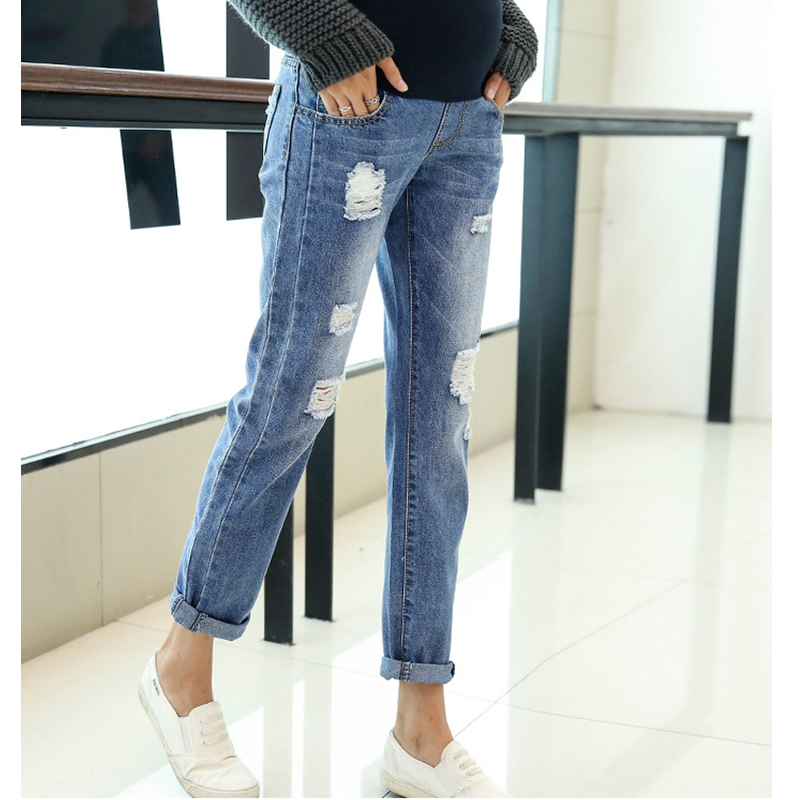 Maternity Clothing Jeans Pants For Pregnant Women Clothes Nursing Trousers Pregnancy Overalls Denim Long Prop Belly Legging New woman fashion slim solid knee distrressed maternity wear jeans premama pregnancy prop belly adjustable pants for women c73
