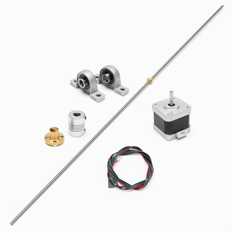 New 3D Printer T8 1000mm Stainless Steel Lead Screw Coupling Shaft+ Brass Nut +Motor 3D Printer Accessories mtgather t8 1000mm stainless steel lead screw coupling shaft brass nut motor 3d printer accessories