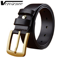 [TG] 100% New Genuine Leather Strap Men Belt Luxury Brass Pin Buckle Cow Leather Men's Jeans Belt High Quality