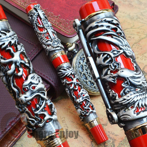 JINHAO RED AND OLD GREY DRAGON AND PHOENIX 18KGP FINE NIB FOUNTAIN PEN jinhao business gifts writing ink pen black with old grey snake wind medium 18kgp nib 3d metal fountain pen