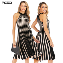 PGSD New Summer Streetwear Slimming sexy strapless striped knitted Coloured pendulum halter Dress Female Fashion women clothes