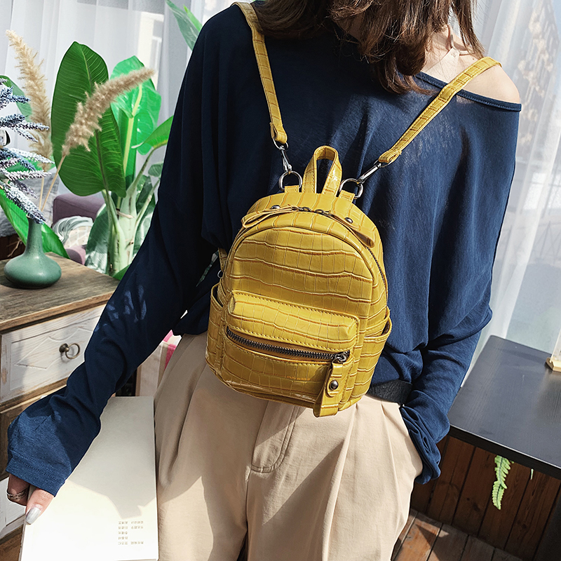 Fashion Women Stone Leather 2019 Backpack Mini Soft Touch Multi-Function Small Backpack Female Ladies Shoulder Bag Female