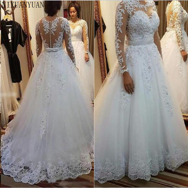 Vestido De Noiva 2017 New Elegant Lace Applique Tulle: Long Dress Elegant Vestido De Noiva Long Sleeves Wedding