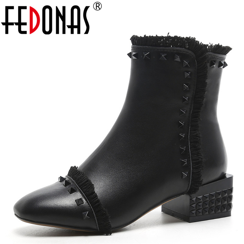 FEDONAS 1Fashion Women Ankle Boots Autumn Winter Warm Genuine Leather High Heels SHoes Round Toe Punk Rivet Quality Shoes Woman 2018 spring street flat genuine leather rivet women shoes high quality punk style hip hop round toe buckle high top sneakers
