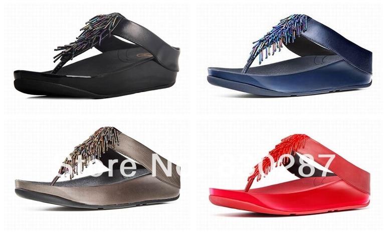 wholesale fashion brand women sandals flip flops cha cha slides wedges  flats beading slippers cheap sale black ec2777482a30