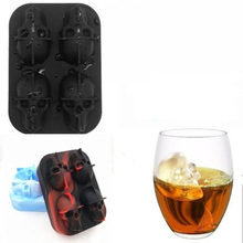 Novelty 3D Skull Shape Silicone Ice Cube Maker DIY Tray Chocolate Mold Bar Party Cool Whiskey Wine Cream Tools