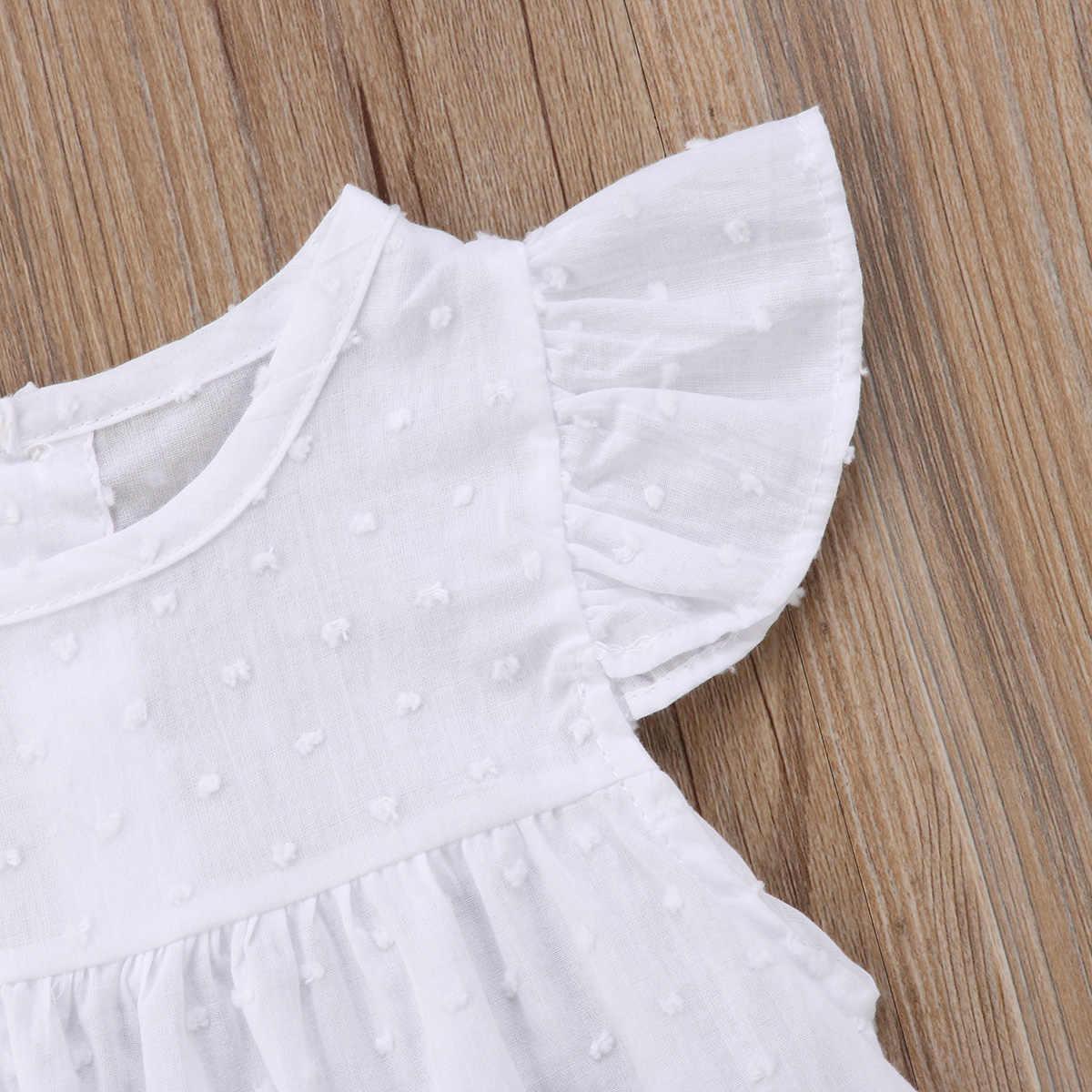 Pudcoco לבן שמלת תינוק נסיכת טוטו בנות תינוק פעוט שמלת חג יום הולדת Praty שמלות קיץ שרוולים קצרים