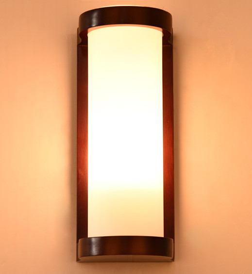 Chinese style red wood frame wall lamps Rustic white glass lampshade E27 LED lamp for porch&stairs&pavilion&bedroom XDBD004