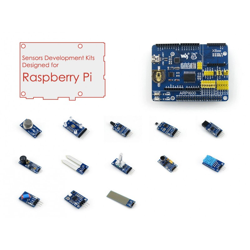 Raspberry Pi Model 3 B/2 B Accessories Pack=Raspberry Pi Expansion Board ARPI600 + Various Sensors, Raspberry Pi Not Included купить