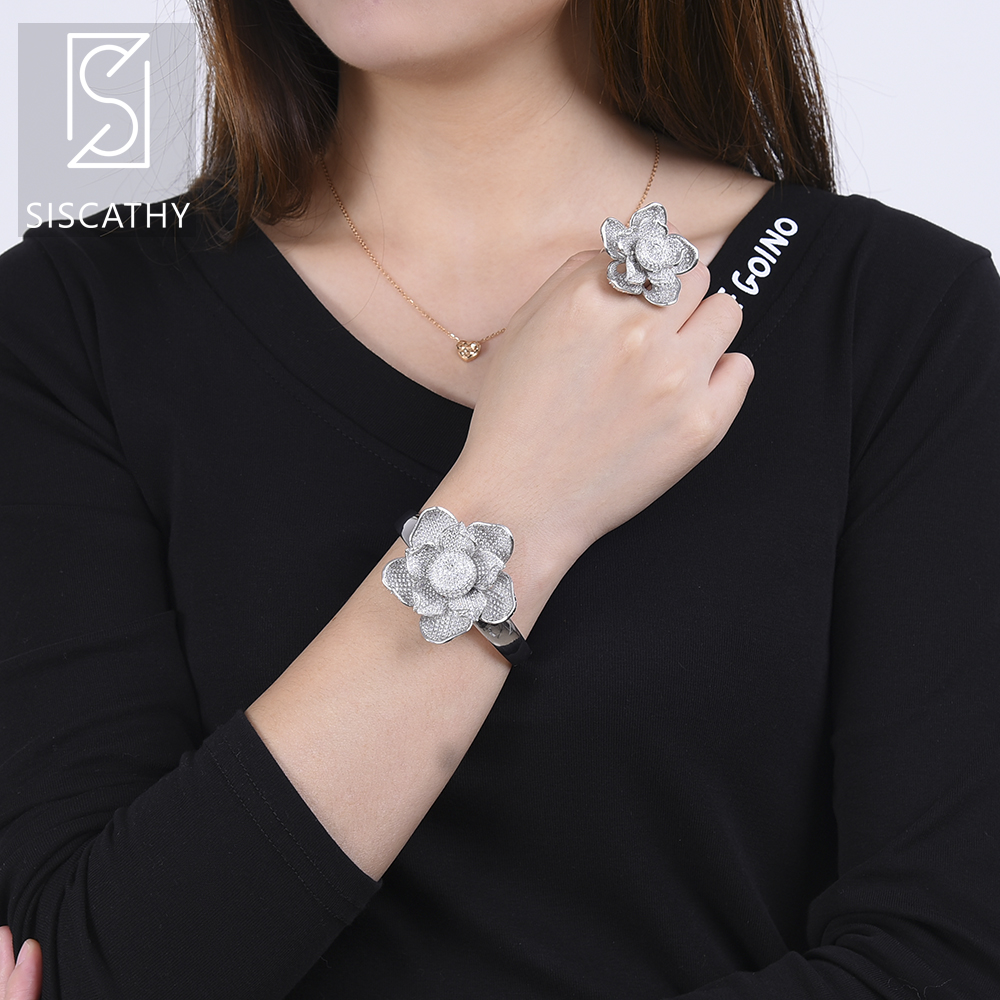 Luxury Women Nigerian Bracelet Ring Wedding Jewelry Sets Full Cubic Zirconia Inlaid Bracelet Ring Jewelry Sets sweet women s cubic zirconia inlaid wavy bracelet