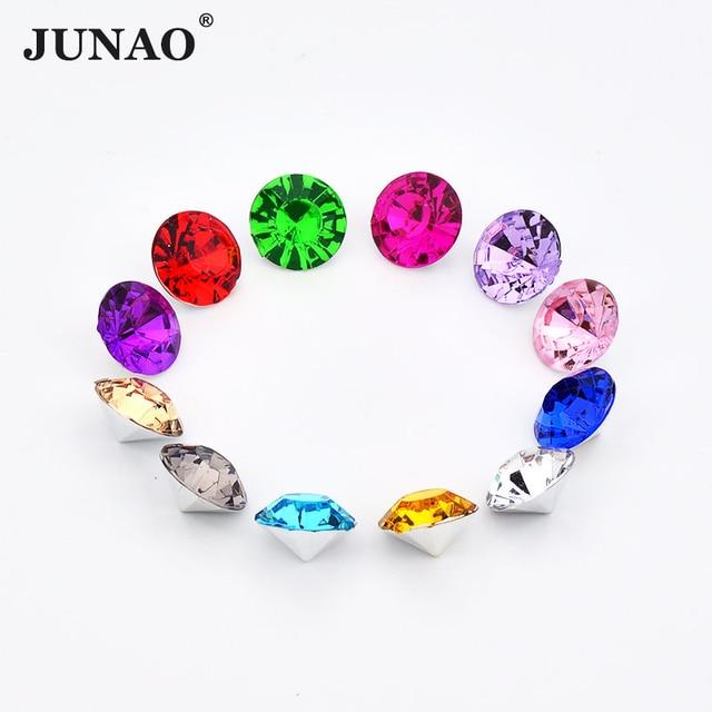 JUNAO 3mm 17 Color Clear Crystal AB Rhinestone Pointback Strass Crystal  Stones Round Acrylic Gems For DIY Jewelry Nail Crafts fdd5c2c9ddf2
