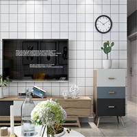 beibehang Clothing store wallpaper fashion women's high end personalized background wallpaper of modern black and white grid box