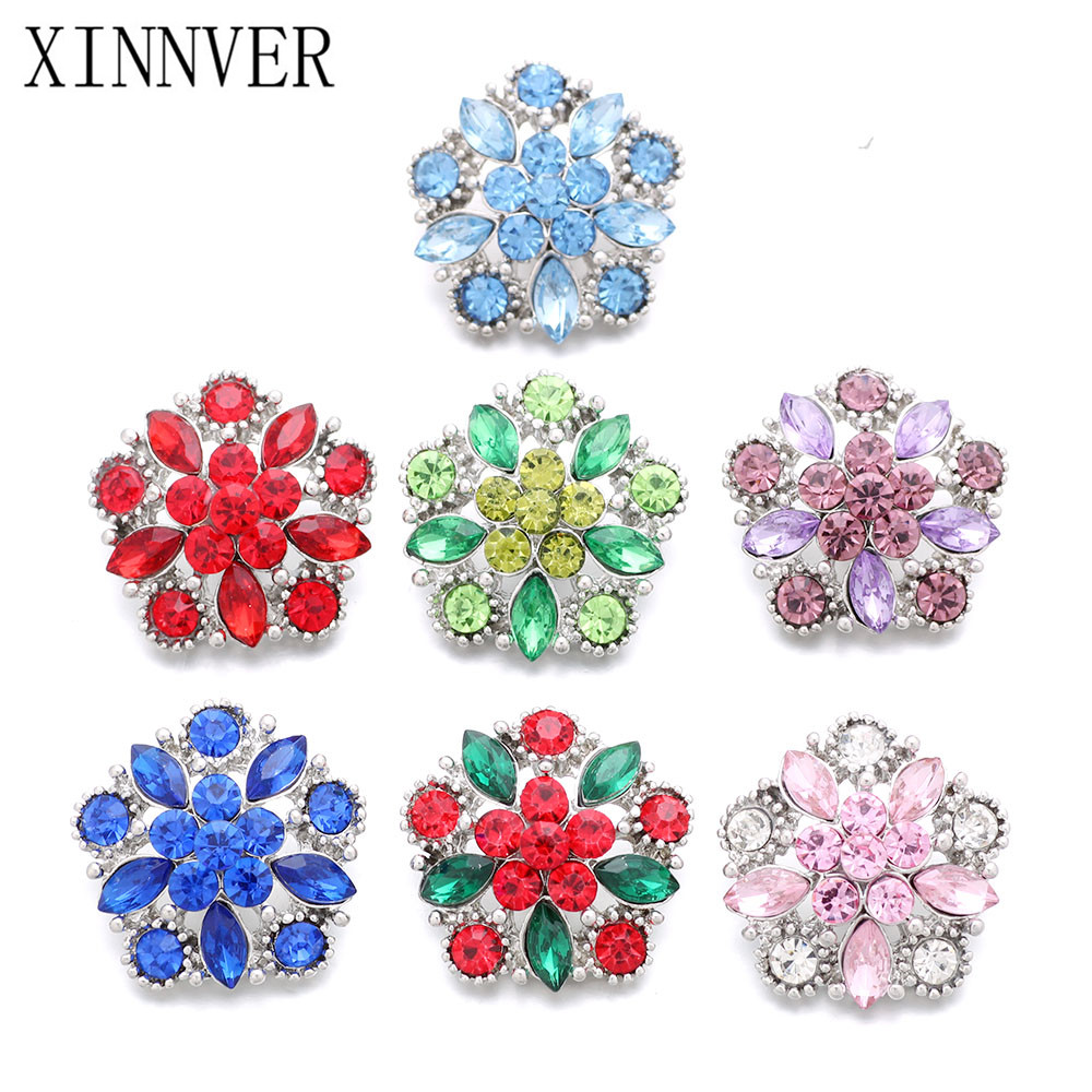 10Pcs/lot hot sale flower snaps buttons charm oem odm snaps jewelry metal button snap fit xinnver snap bracelet ZA693