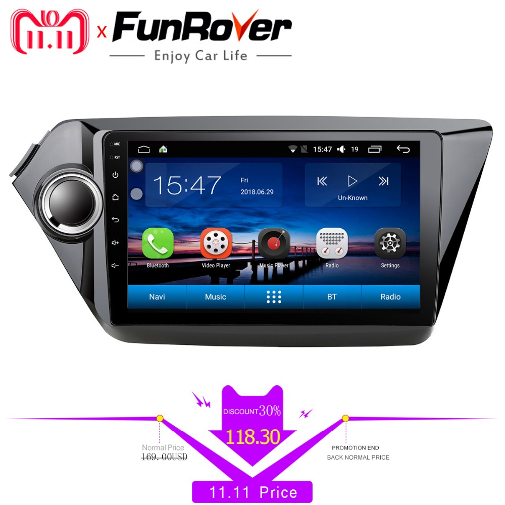 Funrover 2 din car dvd player for kia k2 Rio 2010 2011 2012 2013 2014 2015 2016 2017 gps navigation car radio tapte recorder RDS цена