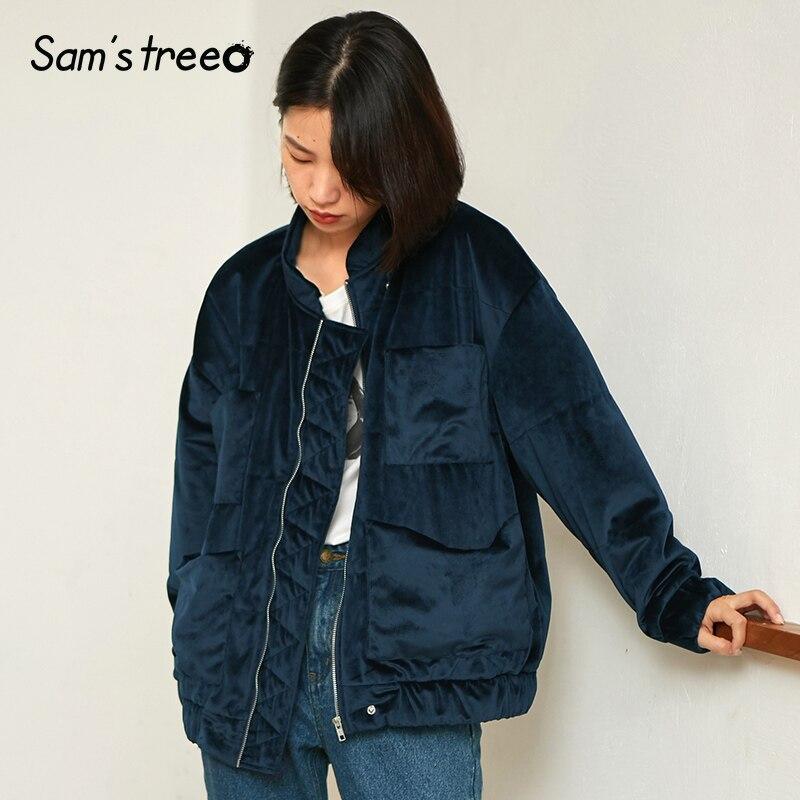 Samstree Style coréen femmes rembourré manteaux velours tissu hiver court manteau Zipper col montant femme bleu épais veste