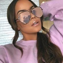 Очки солнцезащитные женские зеркальные в металлической оправе с защитой UV400