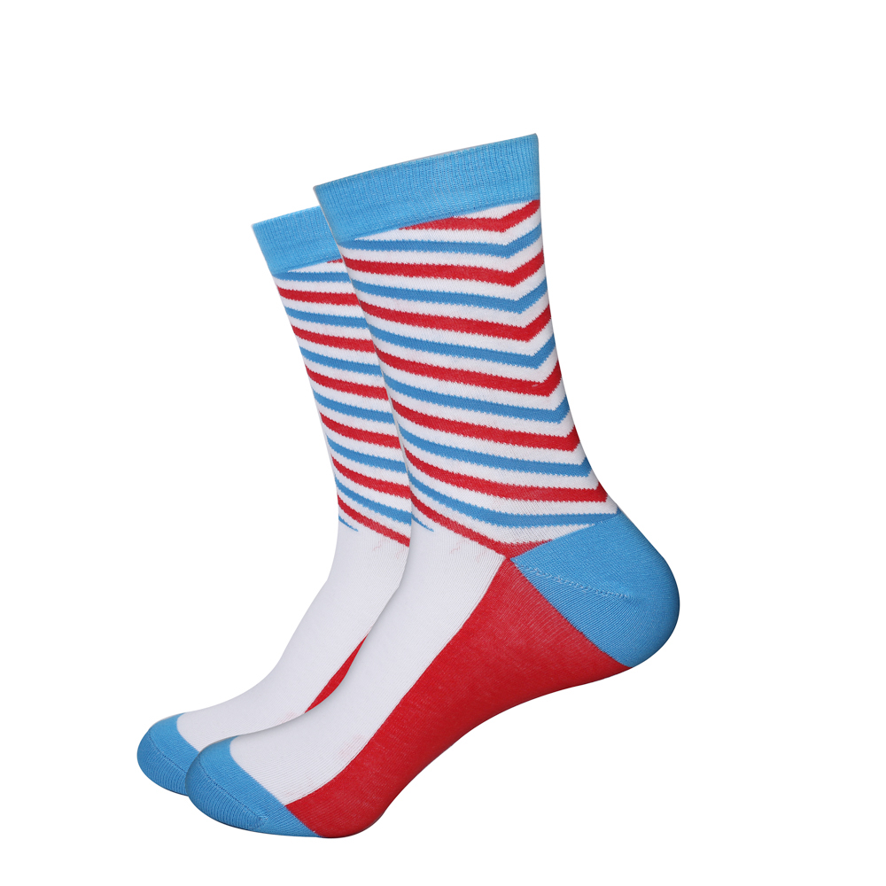 EU38-44 Fashion Colorful Mens Business Socks Breathable 80% Combed Cotton Stripes Polka dot Socks Men 1 Pair