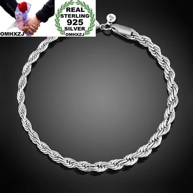 2a53aba4fa32 OMHXZJ al por mayor personalidad moda OL mujer chica fiesta boda regalo plata  cadena torcida 925