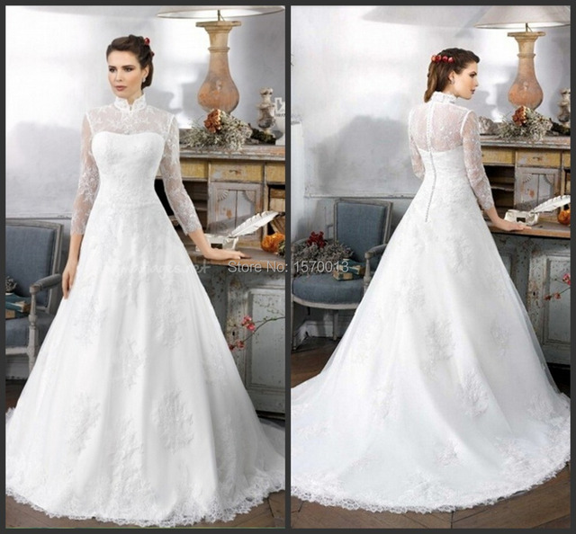 2015 Classic High Neck Collar Long Sleeve Lace Muslim Wedding Dress A Line  with Long Train f833329021f1