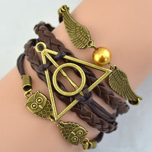 Brown cord leather mix options antique bronze harry potter magic owls wings charm multilayer bracelet
