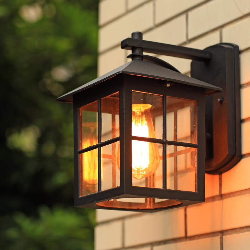 ФОТО American style modern chinese brief outdoor waterproof wall lamp balcony nostalgic vintage wall lamp