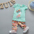 Conjunto de Roupas Meninas Do Bebê verão Dos Desenhos Animados de Algodão T-shirt + Flor calções 2 PCS Terno Para Marca Meninas Do Bebê Roupas Infantis Meninas conjunto