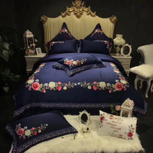 Blue Luxury 80S Egyptian Cotton Flower Embroidery Palace Bedding Set Queen King Duvet Cover Bed sheet/Linen Pillowcases 4/7pcs
