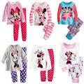 Primavera Outono conjunto TopsPants impressão Dos Desenhos Animados Minnie Mouse Dot Crianças Meninas Amam Pijamas Pijamas Sleepwear Terno