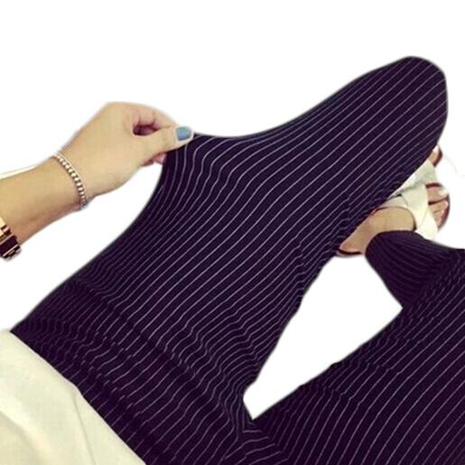 2016 Del Otoño Del Resorte de Las Mujeres Delgadas Leggings Pantalones Lápiz Ocasional Más Tamaño 4XL Pantalones de Entrenamiento de la Aptitud Leggings Raya Negro MF498625