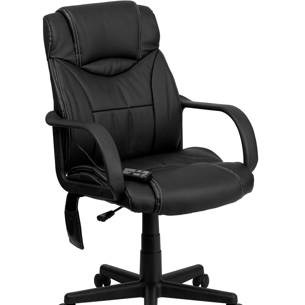 Flash Furniture High Back Massaging Black Leather Executive Office Chair [863-BT-2690P-GG]