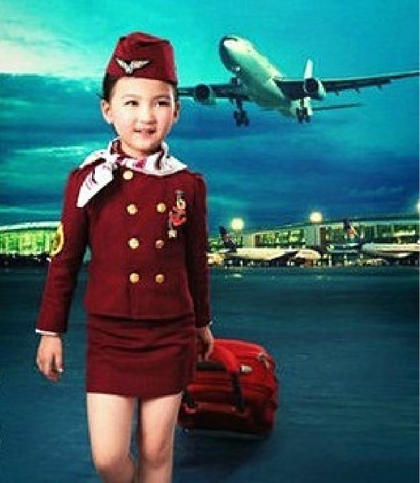 dance dress for girls Stewardess clothing Pilot uniformed boy Child Aircraft long photography service kids dance costume hip hop