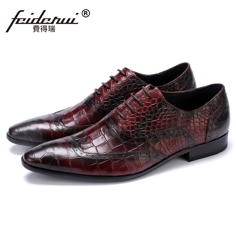 Luxury Formal Dress Man Carved Brogue Shoes Genuine Leather Pointed Toe Alligator Men's Handmade Wedding Party Oxfords JS61 sex toy adult male masturbators realistic vagina pussy pocket soft vagina masturbation cup sex toy for men d4 1 67