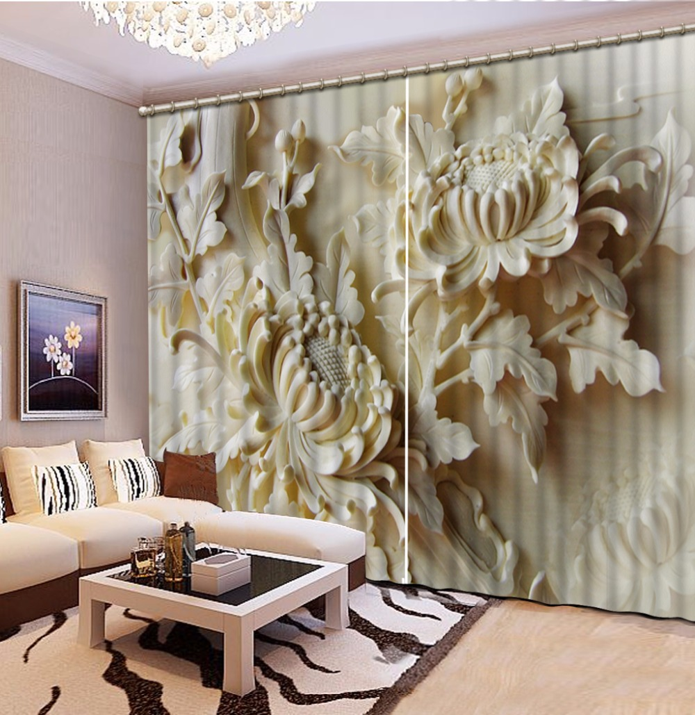 Fashion Customized Home Bedroom Decoration 3D Curtain Relief, Flowers Curtains For Bedroom Blackout Shade Window Curtains
