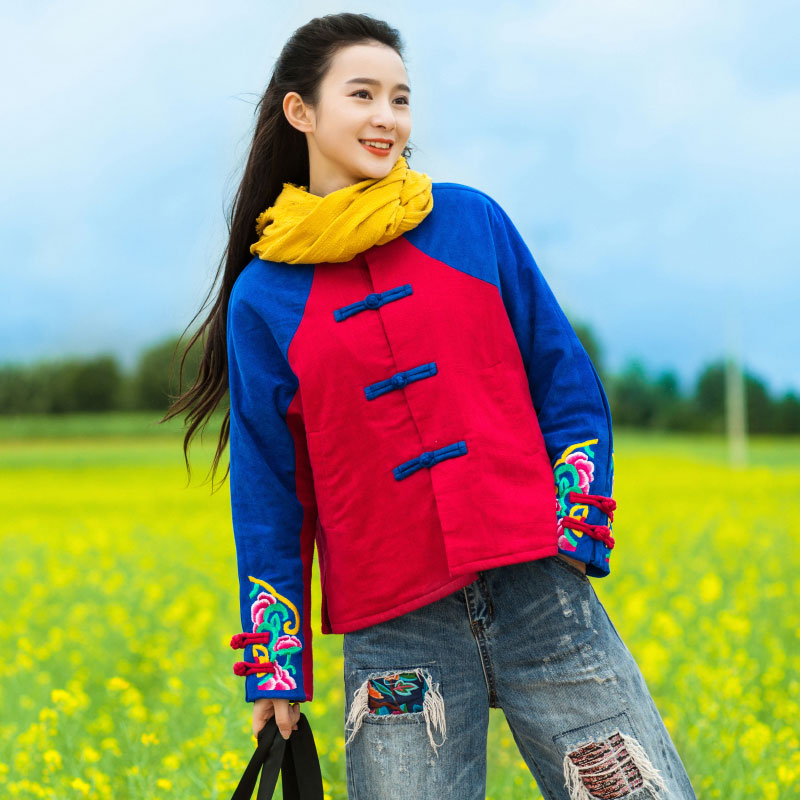 National trend women 2017 winter stand collar plate buttons cotton-padded jacket color block embroidery wadded jacket [aigyptos lz]winter novelty personality vintage exotic fluid ultra long national trend plus velvet wadded jacket cotton padded