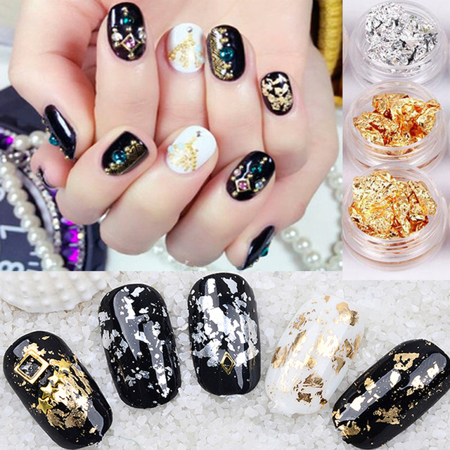 New Nail Art Gold Silver Paillette Flake Chip Foil Kit Acrylic Gel ...