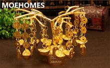 MOEHOMES Chinese Brass copper A cash cow wealth fengshui Statue sculpture Family decoration gifts metal crafts