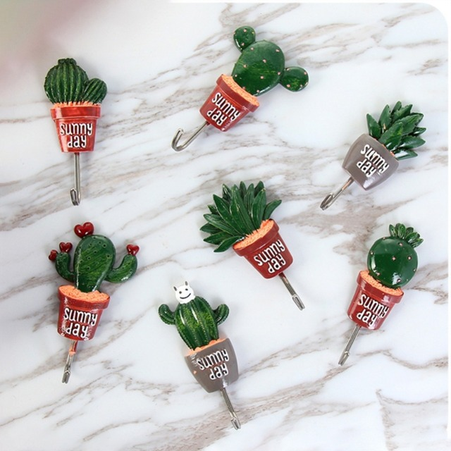 Eco-Friendly Cactus Shaped Wall Stick Hooks