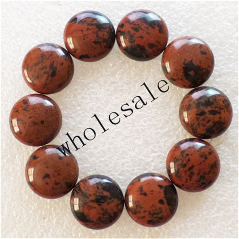 (12 pieces/lot) Wholesale Mahogany Obsidian Round CAB CABOCHON 16mm Free Shipping Fashion Jewelry ZC00010