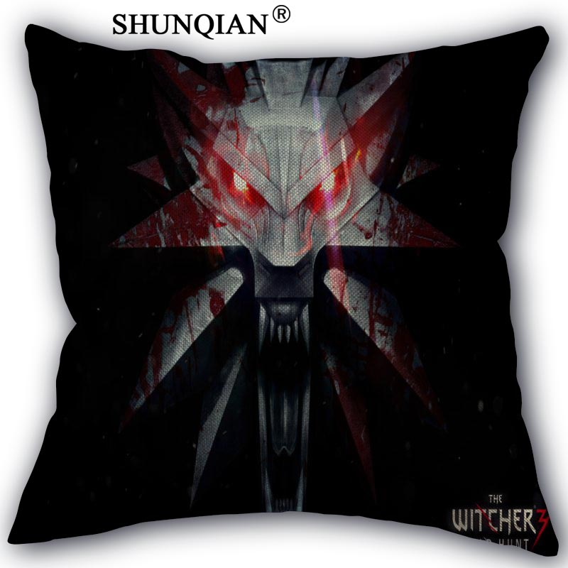 The Witcher Linen Cotton Pillow Covers Printed Square Home Decorative No Core Pillowcase 45x45cm one side