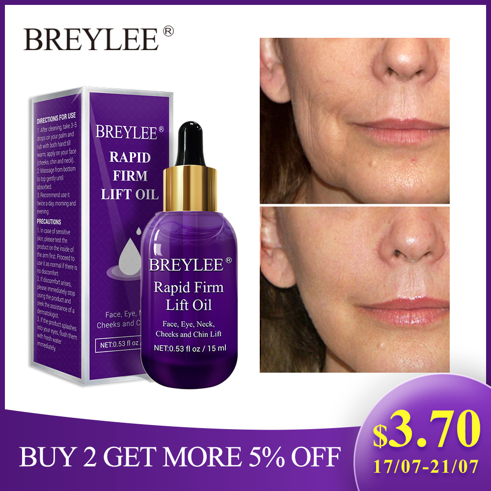 BREYLEE Essential Oils Rapid Firming Lifting Face Essence Oil Massage Anti Wrinkle Anti-Aging Powerful V Shape Facial Skin Care angel schlesser homme edt
