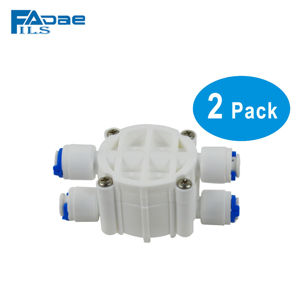 4 way adapter 1/4 Automatic Shut-Off Valve with Quick-Connect Fittings For RO Reverse Osmosis -Pack of 2 high quality 2pcs 4 way 1 4 port auto shut off valve for ro reverse osmosis water filter system