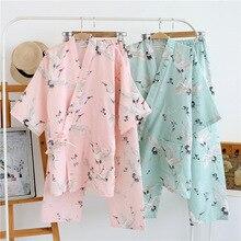 Japanese Women's Yukata Print Pajamas Sets Top and Pants Soft Sleep Lou