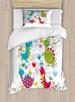 Динозавр вечерние постельное белье мультфильм шары птицы бабочки летние детские Dino пустяком игровая комната Тема 4 шт. Постельное белье