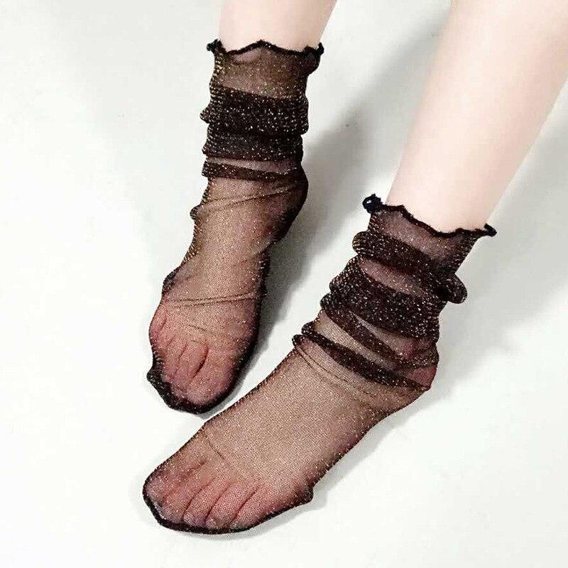 harajuku socks women ladies black mesh ankle socks 5 styles lace socks Pile Heap Shiny dot stars decos transparent breathable