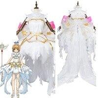 Cardcaptor Сакура: четкие карты Сакура Косплэй костюм Сакура Kinomoto снежный ангел платье Хэллоуин Карнавал Косплэй костюм