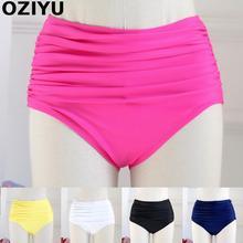 Women Runched Swim Trunks Summer Bikini Bottoms TwoPiece Separate plus Swimwear Sexy Lady swimsuit High-waist good quality M/3XL