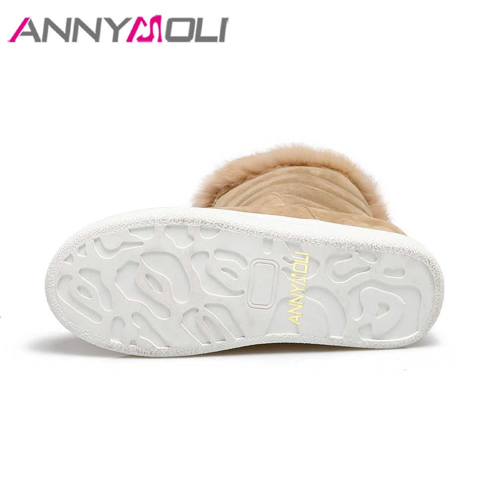 ANNYMOLI Kadın Kar Botları Platformu Gizli Topuklu Orta Buzağı Çizmeler Yeni Kış Gerçek Kürk Artan Topuk Ayakkabı Siyah Büyük Boy 43