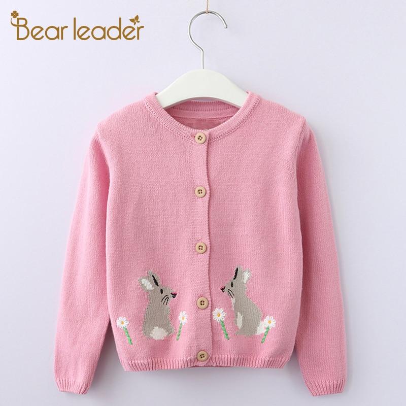 Pemimpin beruang Pakaian Gadis 2018 Baru Musim Gugur Anak-anak Sweater Pola Hewan Lengan Panjang Pakaian Luar O-neck Anak Rajutan 3-9Y